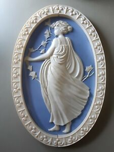 Vintage large Wedgwood style jasper ware blue white 3d plastic wall plaque