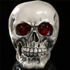 LED Resin Silver Skull Statue Figurine Human Skeleton Head Halloween Decoration