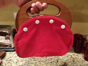 Vintage 70s Bermuda Bag Purse Solid Red Wood Handles