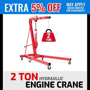 2 Ton Hydraulic Engine Crane Folding Hoist Stand Mobile Garage Lifte Workshop