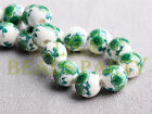 New 10pcs 10mm Round Porcelain Ceramic Loose Spacer Big Hole Beads Charms Green