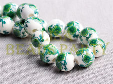 10pcs 10mm Round Porcelain Ceramic Loose Spacer Big Hole Beads Charms Green