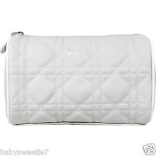 Dior Beauty Cosmetic Makeup Trousse Quilted Cannage Bag Pouch Clutch Silver