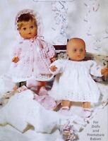"Dolls Vintage Knitting Pattern 6 Piece Layette Inc.Coat Dress Shoes 12-22"" S7085"