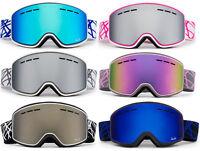 """Ski Snowboard Snow Goggles Winter Sports """"Cross Pattern"""" Anti Fog Dual Lens"""