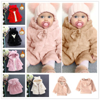 Kids Girl Baby Outerwear Faux Fur Hooded Winter Warm Coat Jacket Clothes