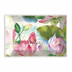 Michel Design Works Glass Trinket / Soap Dish Watercolor Water Lilies - NEW