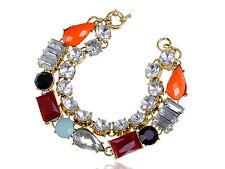 GB Contemporary Multicoloured Bead White Rhinestone Accented Bracelet Bangle