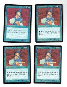 Apprentice Wizard X 4 MTG Magic Fourth Edition Foreign Black Border NM/VG