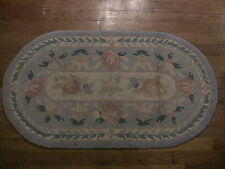 Vintage Hooked Rug Hand-Hooked Throw Wool Oval Floral 22x40 1940s 1950s Bungalow