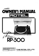 Rotel RP-500 Turntable Owners Instruction Manual