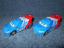 "2 DISNEY PIXAR CARS RAOUL CAROULE GRC RED WHITE & BLUE 3"" DIECAST RACE CARS NICE"
