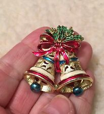 Vintage Colorful Enamel Gold Tone Bell CHRISTMAS PIN
