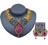 Fashion Nigerian Wedding African Beads Crystal Saudi Necklace Earring Jewelry