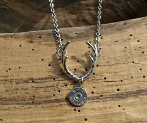Deer Antler Necklace with Bullet Charm. Your Choice Caliber. Optional Crystal