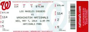 2014 Nationals vs Dodgers Ticket: Stephen Strasburg win/Rafael Soriano save