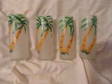 4 Vintage Highball Glasses Hand Painted Tropical Palm Trees Frosted Lot 2