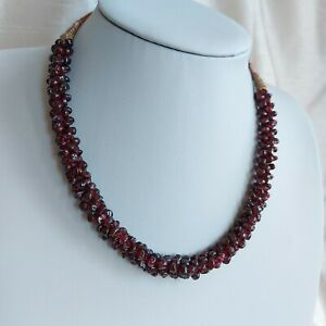 Vintage Garnet Bead Rope Necklace on Adjustable Cord, Variable Length, Ethnic,