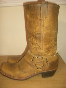FRYE HARNESS DISTRESSED PULL-ON MID-CALF CUBAN HEEL COWBOY / BIKER BOOT SIZE 7UK