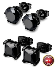 Stainless Steel Cz Stud Black - 5mm 2pairs Round Square Earrings For Men Women