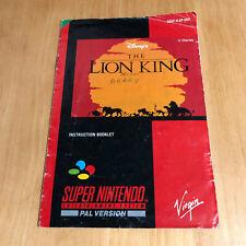 Super Nintendo SNES Manual Only - Lion King