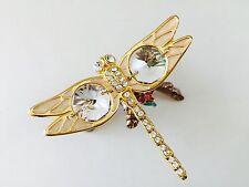 "SWAROVSKI CRYSTAL ELEMENTS ""Dragonfly"" FIGURINE - 24K GOLD ON STAND/ PEWTER BASE"