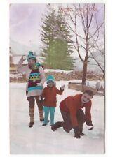 Invierno Familia Juego Bolas Por Nieve Foto Tarjeta Postal Antigua Navidad Sv.