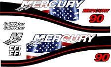 MERCURY 90 USA & BLACK MOTOR STICKERS DECAL KIT ENGINE