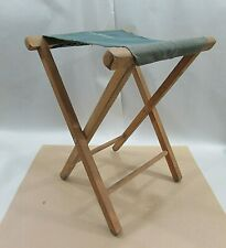 Primitive Old 12x18 Folding Wood Antique Camp Stool w Canvas Seat Free S/H