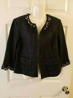 Michael Kors Size 10 Cropped Jacket Multicolored 3/4 Sleeve Open Front Blazer