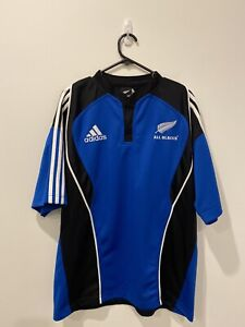 Mens Adidas All Blacks Rugby Training Shirt Jersey Blue Thick Authentic Size XL