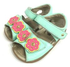 See Kai Run Baby Girls Sandals Blue Leather Pink Flower Size 6.5 Flexible Shoes