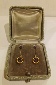 Vtg Solid 9ct Gold Amethyst Drop screwback earrings boxed claw set