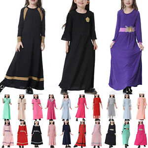 Muslim Kids Girls Abaya Maxi Dress Kaftan Islamic Arab Robe Gown Long Dresses