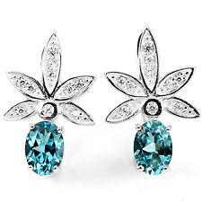 Sterling Silver 925 Stunning Genuine Oval London Blue Topaz Leaf Earrings