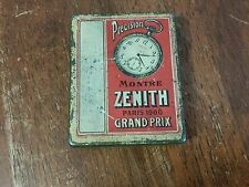 Rare Antique advertising zenith grand prix pocket watches metal tin