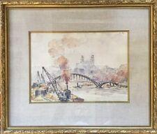 André LÉVEILLÉ 1880-1963.Quais de Lyon.Circa 1935.Aquarelle.SBD.27x39.Cadre