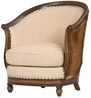 """28"""" W Sante Occasional Chair Fabric Seat Hair on Hide Leather Hand Crafted Wood"""