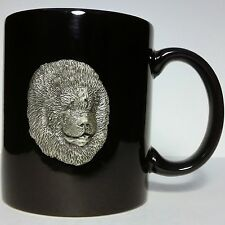 Pewter Chow Chow Head on Black Porcelain Mug - Depicts Breed History On Reverse