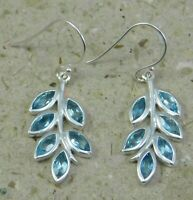 Solid 925 Sterling Silver Blue Topaz Gemstone Handmade Drop Leaf Design Earring