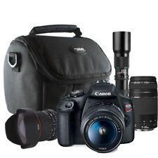 Canon Rebel T7 24.1MP DSLR Camera 18-55mm, 75-300mm, 8mm Lens and 500mm Lens