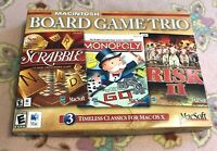 New & Sealed Macintosh Board Game Trio Monopoly Scrabble & RISK II 2 / Macsoft