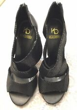 Kelsi Dagger Black Snake Skin Blocked Heel Sandal Heel Back Zip Size 9 $140*