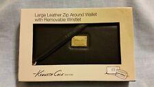 Kenneth Cole Leather Zip Around Wristlet Wallet NIB Black
