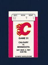 Flames vs Stars 1991 hockey ticket stub - Fleury & Nieuwendyk goals