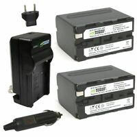 Wasabi Power Battery (2-Pack) and Charger for Sony NP-F950, NP-F960, NP-F970,