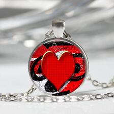 Heart Red Tibet silver Dome Glass Cabochon Necklace chain Pendant #236