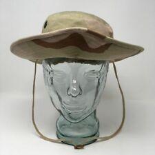 """Camouflage Desert Pattern Boonie Hat Brown Green Chin Strap 7"""" Size S"""