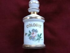 Antique Hand Painted White Glass Cologne Bottle W/ Roses & Gold