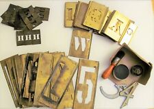 Large Lot Of 127 Antique Vtg Brass Stencil Letters & Numbers Brush With Tin